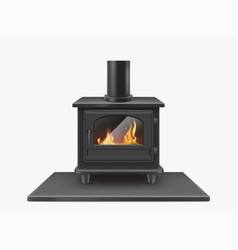 Wood burning stove iron fireplace with fire inside vector