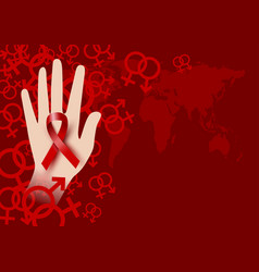 World aids day design of red ribbon on hand vector