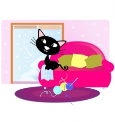 xmas cat sitting on sofa vector image