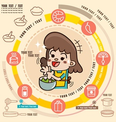 Young girl in the kitchen cooking vector