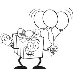 Cartoon Gift Holding Balloons vector image vector image