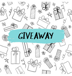 giveaway card with gift boxes pattern vector image