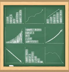 Graphs on blackboard vector image