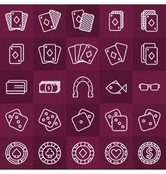 Poker minimal icons set vector