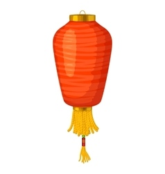 Red chinese paper lantern icon in cartoon style vector image vector image