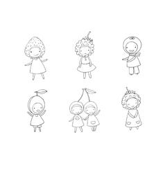 Set of cute cartoon girl berries vector image vector image