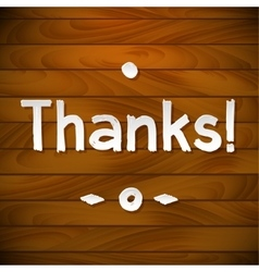 Thank you card on wood background gratitude for vector