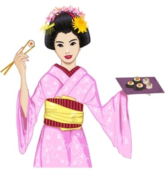 Young beautiful Japanese woman in kimono enjoys vector image