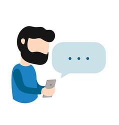 young hipster man guy with smartphone vector image vector image