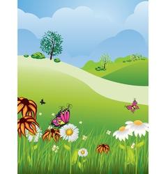 Cartoon Summer Landscape vector image vector image