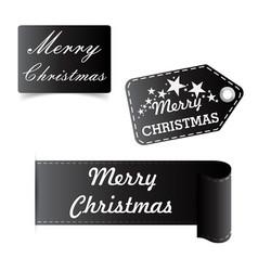 Merry christmas black sticker badge vector