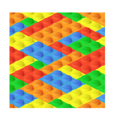Seamless construction plastic colourful blocks vector image
