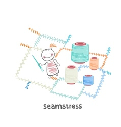 seamstress sewing colored threads huge colorful vector image vector image