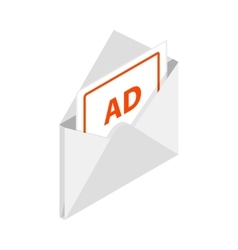 White envelope with card for advertising icon vector image