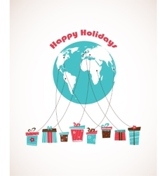 Global holiday season world wide gift delivery vector