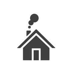 house with smoke going from chimney home icon vector image vector image