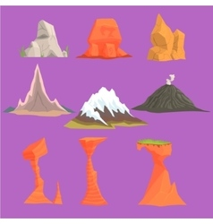 Rock And Mountain Design Set vector image vector image
