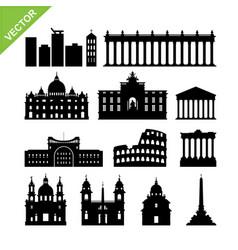 rome city italy landmark and skyline silhouettes vector image