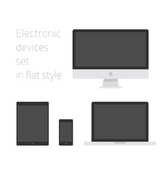 Electronic devices set in flat style vector image