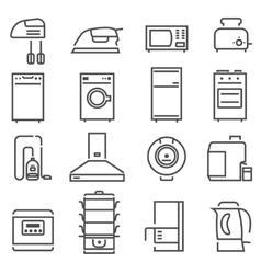 House Appliances Black White Icons Set vector image