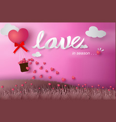 paper art of happy valentine day balloon flying vector image vector image