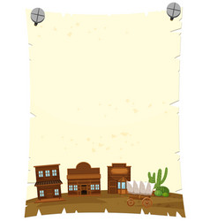 Paper template with western town in background vector