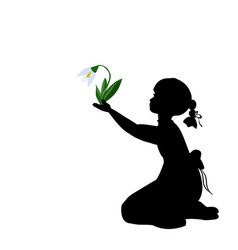 silhouette girl with spring snowdrops vector image