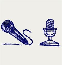 Sketch microphone vector image vector image