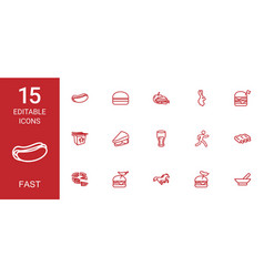 15 fast icons vector image