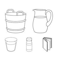 A can a glass a jug a tub moloko set vector