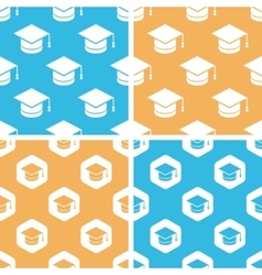 Academic cap pattern set colored vector