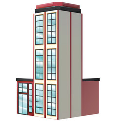 architecture design for apartment building in red vector image