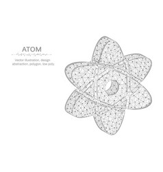 Atom low poly design science in polygonal style vector