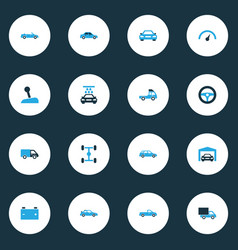 Automobile colorful icons set collection of van vector