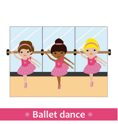 Ballerinas with bar and mirror vector
