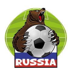 Bear with a soccer ball vector