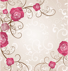 beige framed red roses pattern flourish vector image