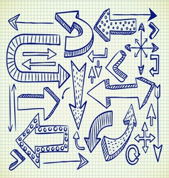 big set of arrow doodle vector image