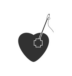 Black icon on white background heart with a needle vector