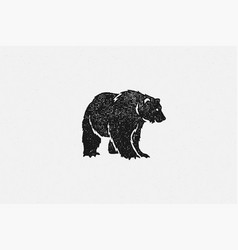 black silhouette bear as symbol wild fauna vector image