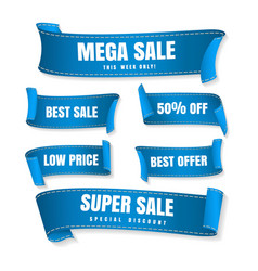 blue sale ribbons vector image
