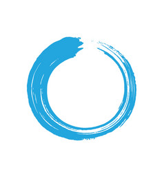 Blue zen enso circle brush vector