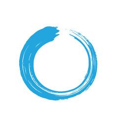 blue zen enso circle brush vector image