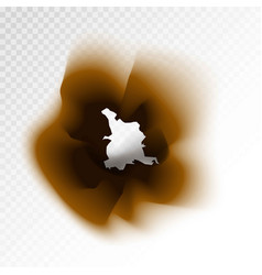Burnt brown isolated paper hole on transparent vector