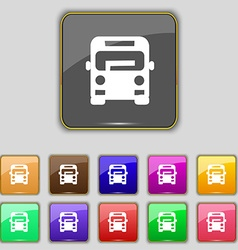 Bus icon sign Set with eleven colored buttons for vector