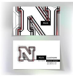 Business card design with letter N vector image