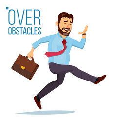 Businessman jumping over obstacles leader vector