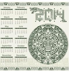Calendar 2014 in mayan style vector