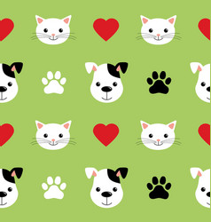 cartoon cute cats and dogs seamless pattern vector image
