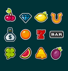 casino slot machine icons vector image